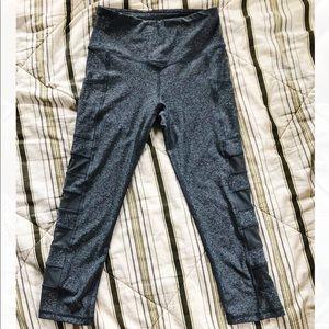 Grey cropped mesh detailed yoga/athletic leggings